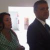 Francisco González en la inauguración del CEO Motor Grande, junto a Carmen Hernández Afonso, concejala de Educación