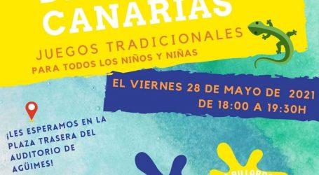 Juegos infantiles tradicionales para celebrar el Día de Canarias en Agüimes.