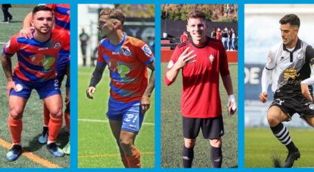 Ojeda felicita a los futbolistas teldenses, Alemán, Vega, Eslava y Perera por sus ascensos de categoría.